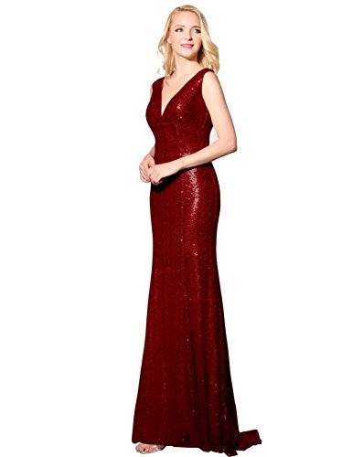 Sarahbridal New Long Womens Sequins Dress Evening Plus Size Prom Dresses for Bridesmaid SSD351 Burgundy Size UK 22W (V-neck Sequin Kleid)