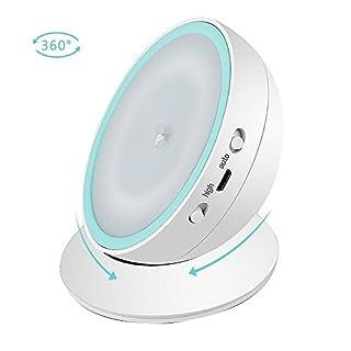 AFAITH Dimmbar Motion Sensor Licht LED Nachtlicht, Smart Cordless USB -Powerd Nachtlicht mit 360 Grad Rolation Magnetic Base für Flur, Bad, Schlafzimmer, Kinderzimmer - Weiß SA074W