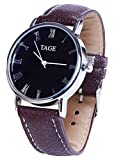 TAGE Power Edition Men's Watch - Luxury Genuine Brown Leather Strap Quartz Analogue