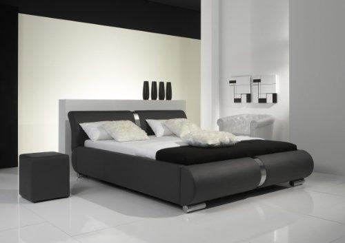 Dreams4Home Polsterbett mit Kunstlederbezug 'Milo' 160, 180 o. 200×200 cm, Grau, Liegefläche:160×200 cm