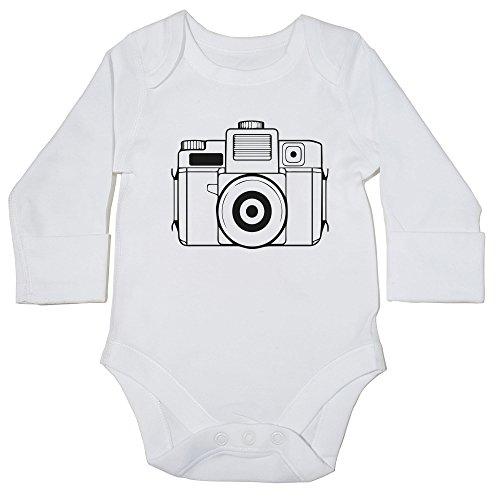 Hippowarehouse Illustrated Camera Baby Vest Bodysuit (Long Sleeve) Boys Girls