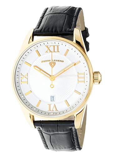 Swiss Legend Herren-Armbanduhr Belleza Analog Schweizer Quarz weißes Zifferblatt und goldfarbenes Edelstahlgehäuse mit schwarzem Lederarmband 22012-YG-02-BLK
