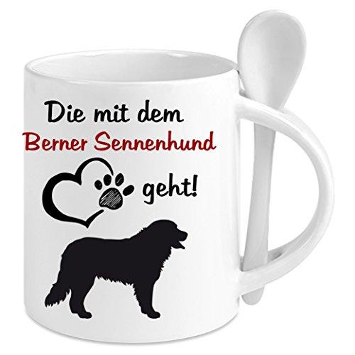 Creativ Deluxe Kaffeetasse m. Löffel - Die mit Dem Berner Sennenhund Geht - Kaffeetasse mit Motiv, Bedruckte Tasse mit Sprüchen o. Bildern - Auch indiv. Gestaltung Nach Kundenwunsch (Weiß)