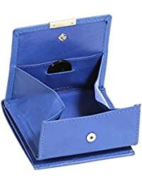 Wiener-Schachtel mit großer Kleingeldschütte LEAS, in Echt-Leder, hellblau - ''LEAS Special Edition''