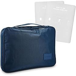 Navaris organizador de viaje para camisas con plegador - bolso para transportar 2 camisas y blusas sin arrugas - bolsa para maleta en azul oscuro