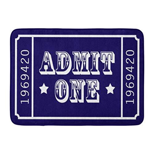 LIS HOME Badematte Blue Room Whimsical Circus Theater Ticket zugeben Americana Badezimmer Dekor Teppich (Ein Zugeben, Ticket)