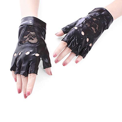 Frauen Punk Spitze Half Finger PU Leder Performance Handschuhe Handschuhe, Grillhandschuhe, Arbeitshandschuhe, (Color : Black+Red) (Hash Tag Kostüme)