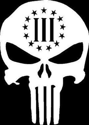 SUPERSTICKI® CCI046 - Skull Punisher Gun Rights White Vinyl Car/Laptop/Window/Wall Aufkleber Decal Hintergrund/Maße in inch | 6.5 x 4.5