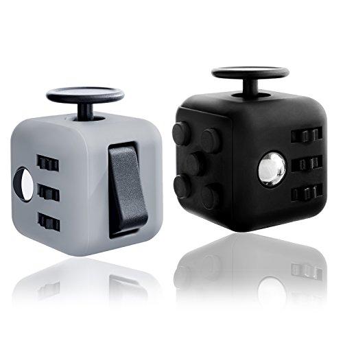 Preisvergleich Produktbild Originalgetreuer Fidget Cube mit 6 verschiedenen Funktionen - Stresswürfel gegen Nervosität - Unterhaltsames Gadget in 4cmx4cm Originalgröße (Schwarz)