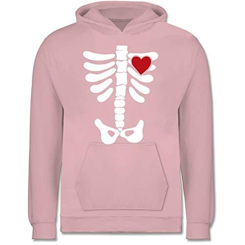 Shirtracer Anlässe Kinder - Skelett Herz Halloween Kostüm - 7-8 Jahre (128) - Hellrosa - JH001K - Kinder Hoodie