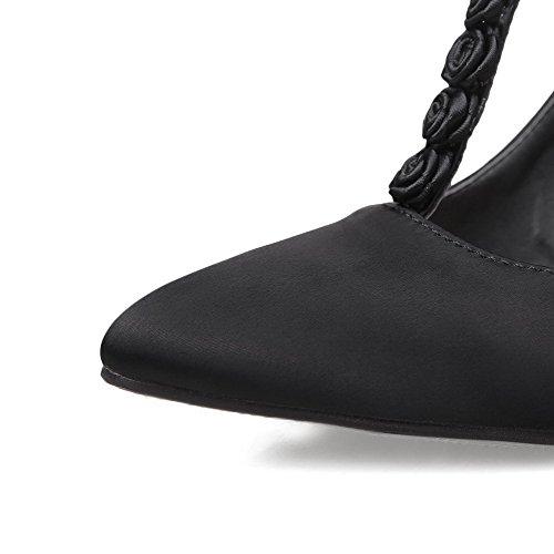 AllhqFashion Femme Boucle à Talon Haut Satin Couleur Unie Pointu Chaussures Légeres Noir
