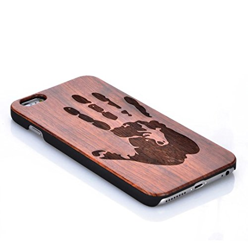 iPhone 7 Plus Hülle, Vandot Holz iPhone 7 Plus Schutzhülle Ultra Dünn Echtem Wood Hart Case Cover mit PC Hard Bumper Handytasche Retro Handmade Muster Patter Passgenaues Telefonkasten Handyhülle Handg Design 1