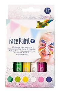 folia Face Paint - Juego de 6 lápices de maquillaje para niños, dermatológicamente probados, resistentes al lavado, lavables con agua y jabón, ideales para carnaval, carnaval y teatro
