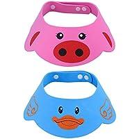 NATEE 2pcs Sombrero de Ducha para Bebé, Sombrero Protección de Ojos de Bebé, Gorro de Ducha Ajustable para Bebé, Sombrero de Sol de Bebé Resina Protección de Ojo Oído para Bebé de 3 Meses a 6 Años