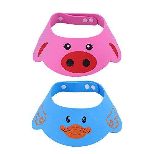 NATEE 2 Pcs Doccia Cap per Bambino Sicurezza Cappello da Bathing con Visore Regolabile Morbido per Neonati e Bambini Rosa Blu