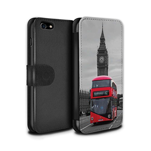 STUFF4 PU-Leder Hülle/Case/Tasche/Cover für Apple iPhone 7 / City of London Muster / Seiten London Kollektion Roten Bus
