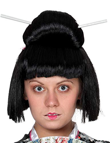 Geisha Perücke für Damen Hochsteckfrisur schwarz