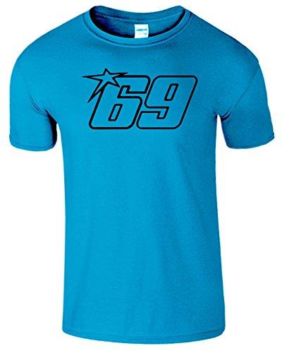 Nicky Hayden Frauen Der Männer Damen MOTO GP T Shirt Antik Saphir / Schwarz Design