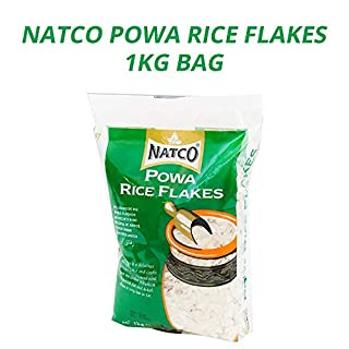 Natco Powa (Rice Flakes) Medium | Pre-Cooked Rice Flakes | Quick Cooking | Healthy Alternative | Ideal for Rice Pudding | Vegan | Gluten Free (GF) | 1KG Bag