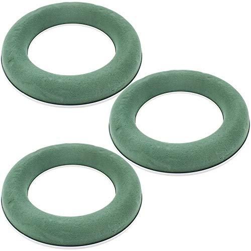 COM-FOUR® 3 Steckmasse in Ringform, Steckschaum für Frischblumen, 25,6 x 25,6 x 3,9 cm (03 Stück - Ring) (Grab Blumen Kranz)