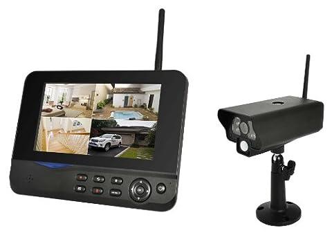 COMAG Digitales Kamera Funk-Überwachungs-Set Überwachungskamera Videoüberwachung mit IP Funktion über Smartphone App (inkl. 7 Zoll TFT Monitor, kabellos, Nachtsicht (Infrarotkamera), erweiterbar bis zu 4 Kameras, bis zu 300 m, Aufnahmefunktion, SD-Kartenslot bis 32GB, USB 2.0 für externe Festplatte bis