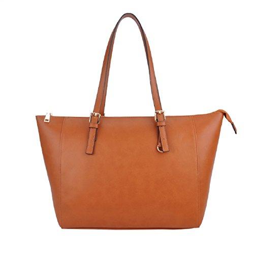 Handtasche,Shopper Designer Handtaschen SPSHENG Damen Leder Schulter Handtasche mit Umhängegurt braun 3-Brown