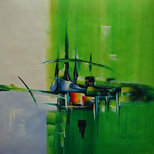 YHYSJ Messer Ölgemälde handgemalte abstrakte Vier Farbe Jahreszeiten Wandkunst Bild für Wohnzimmer Moderne dekorative Leinwand Malerei grün 30x30