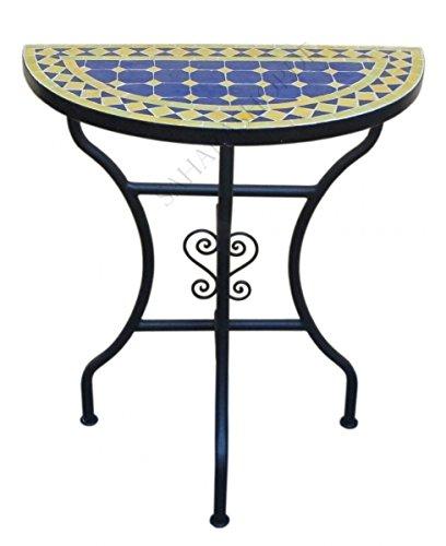 Marokkanische Mosaikkonsole halbrund Blau-Gelb Klein