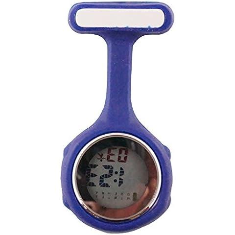 ELLEMKA® - JCM-330 Reloj de enfermera digital para profesionales de la salud, multifuncional, programable, con la broche, CE, RoHS, funda de silicona, en una caja de regalo, de color azul.