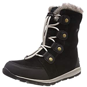 Sorel Unisex Kids Youth Whitney Suede Snow Boots, Black (Black, Dark Stone), 3 UK
