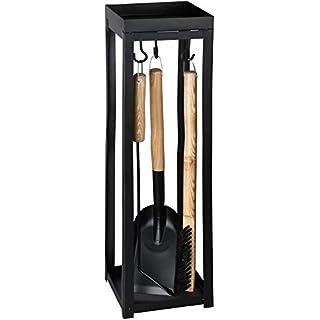 Rivanto® Beistelltisch mit Kaminbesteck, 19,2 x 19,2 x 68,2 cm, Metallgestell, Stabiler Stand, Werkzeuge mit Holgriffen, Kamin-Werkzeug