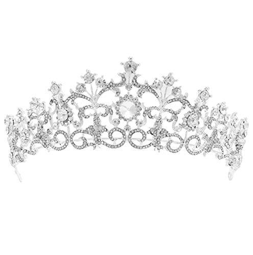SERAPH Prinzessin Diadem Hochzeit Krone Braut Tiara mit Kristalle für Festzug Prom, Silbern,Silver,OneSize