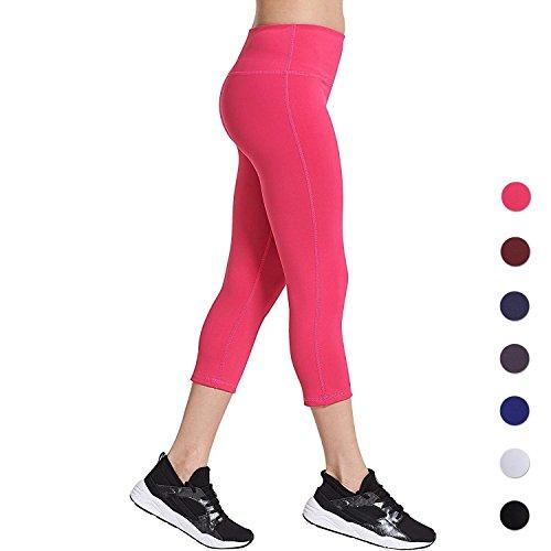 COOLOMG Damen Yoga Capriss 3/4 Hosen Kompression Leggings Sport Trainingshose Rot L Capri Running Legging