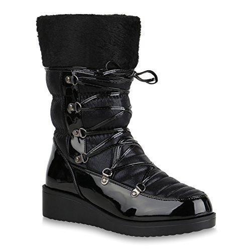 Damen Winterstiefel Warm Gefütterte Stiefel Wedges Schuhe Boots 153939 Schwarz Black Berkley 38 Flandell