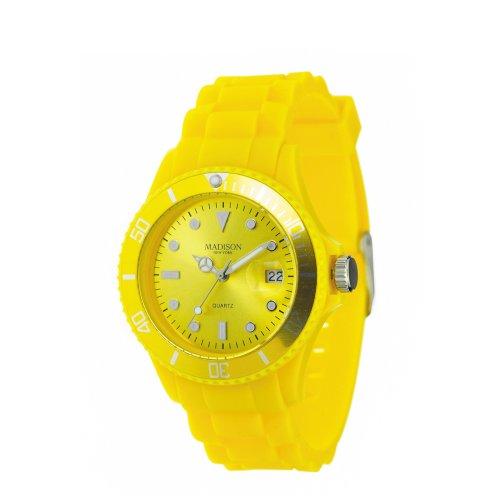Madison New York SU4167J - Reloj analógico de cuarzo unisex con correa de silicona, zalando