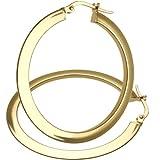 Citerna 9 ct Yellow Gold Ultra Slim Flat Hoop Earrings of 35 mm Diameter