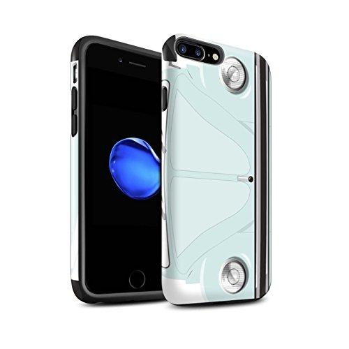 STUFF4 Glanz Harten Stoßfest Hülle / Case für Apple iPhone 8 Plus / Leuchtend Orange Muster / Retro Beetle Kollektion Arktisches Weiß