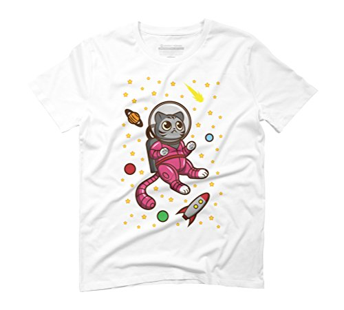 Kitty Cat in Space Men's Graphic T-Shirt - Design By Humans White
