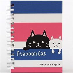Libreta anillas kawaii rayas rosa azul gatos de Japón