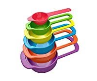 Kartfy Compact food measurement preparation measure measuring spoon and cup set, Set of 6 (Multi-Colour)