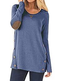 0a22cf0f027bba NICIAS Womens Side Buttons Long Sleeve Casual Crew Neck Elbow Patched  Sweatshirt Loose T Shirt Blouses Tunic…