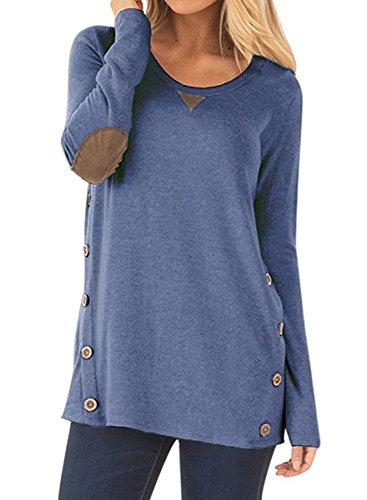 NICIAS Damen Seitliche Tasten Langarmshirt Pullover Lässige Rundhals Sweatshirt Ellenbogen Gepatcht Hemd Lose T Shirt Blusen Tunika Top(Blau, L)