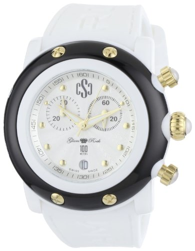 Glam Rock Women's GR62109 Miami Beach Silver Dial White Silicone Watch