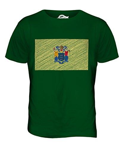 CandyMix Bundesstaat New Jersey Kritzelte Flagge Herren T Shirt Flaschengrün