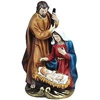 CAPRILO Figura Decorativa Religiosa de Resina Nacimiento con Niño. Adornos y Esculturas. Belenes.