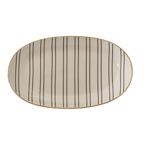 Bloomingville A21239384 Ava Plate with Gold Trim, Multicolor Teller Gold Trim