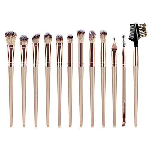 Occitop Professional Makeup Brushes Set 12pcs Eyeshadow Eyelash Brushes (Champagne) -