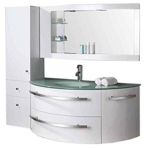 Grafica ma.ro srl mobile arredo bagno arredobagno 120 cm sospeso rubinetteria lavabo ambassador bianco laccato, rubinett. e lavabo inclusi