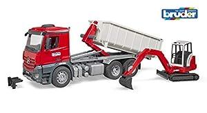 bruder-bruder-03624-camion MB Arocs con contenedor y Mini Pala Schaeff HR 16, 3624, Gris y Rojo
