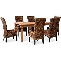KMH®, Esszimmer Sitzgruppe / Tischgruppe *Corona / Banana* (6 Rattanstühle  Aus
